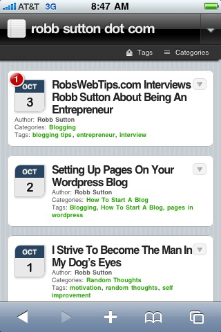 Mobile Theme for RobbSutton.com on the iPhone