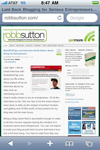Regular RobbSutton.com on the iPhone