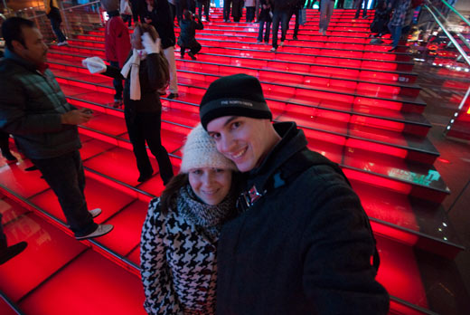 Red Steps In Times Square New York City