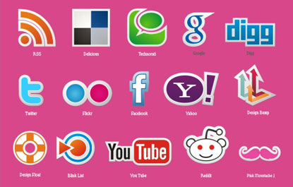 Social Media Icons by Pink Moustache