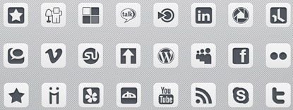 Gray and White Social Media Icons by Web Treats